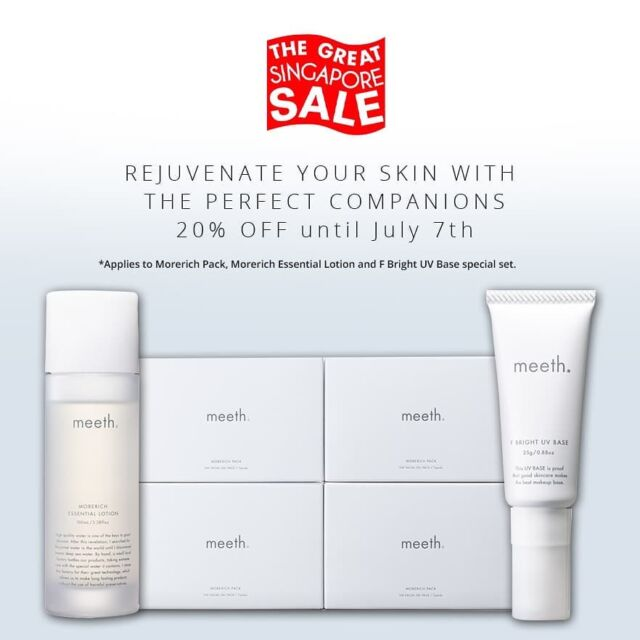 Get a 20% off on our best sellers during the Great Singapore Sale!  Rejuvenate your skin with the perfect companions set is now available on meeth Singapore website and Lazada with FREE Shipping until July 7th. This stellar set contains Morerich Pack, Morerich Essential Lotion and F Bright UV Base. Grab your chance to try three meeth superb products at once. DO NOT MISS IT!  #meeth #meethglobal #skincare #japaneseskincare #luxuryskincare #kindtoskin #beauty #skincareproducts #glowing #skin #selfcare #precious #loveyourskin #water #hydration #hydratedskin #naturalmoisturizer #GreatSingaporeSales #promotion #freeshipping #discount #lotion #mask #makeupbase